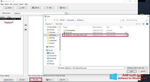 Screenshot ArtMoney Windows 8.1