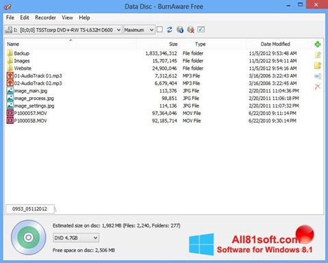 Screenshot BurnAware Free Windows 8.1