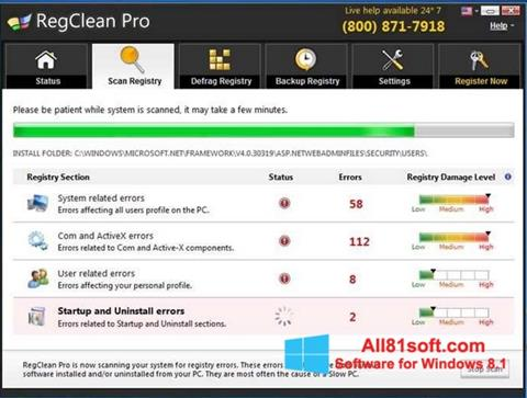 Screenshot RegClean Pro Windows 8.1