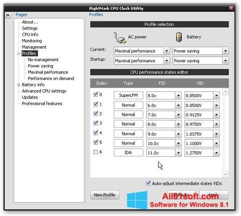 Screenshot RMClock Windows 8.1