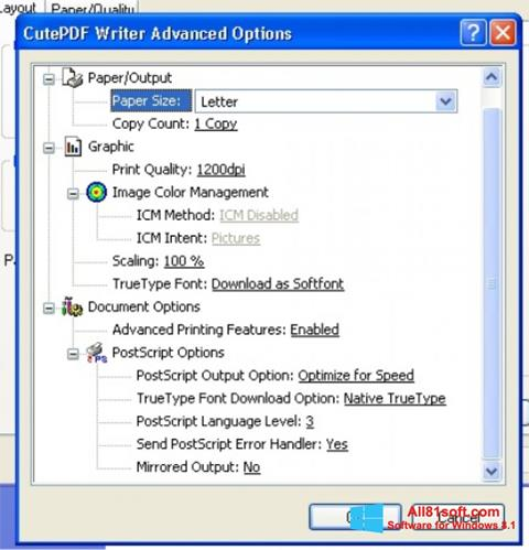 Screenshot CutePDF Writer Windows 8.1