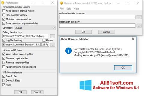 Screenshot Universal Extractor Windows 8.1