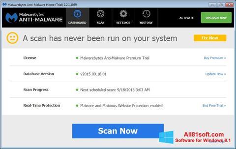 Screenshot Malwarebytes Anti-Malware Free Windows 8.1