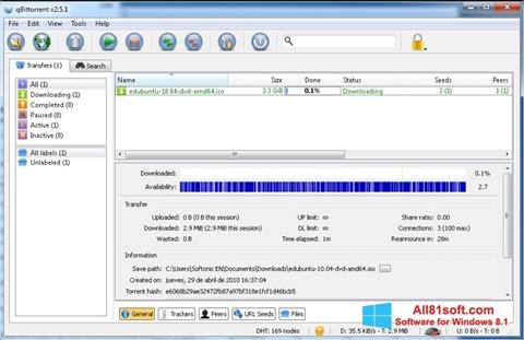 Screenshot qBittorrent Windows 8.1
