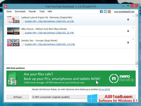 Screenshot Free YouTube Download Windows 8.1