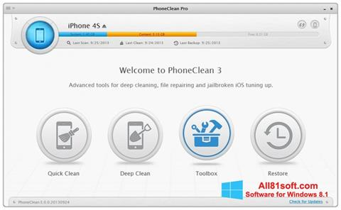 Screenshot PhoneClean Windows 8.1