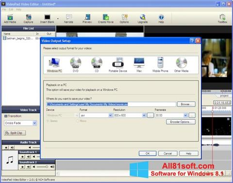 Screenshot VideoPad Video Editor Windows 8.1