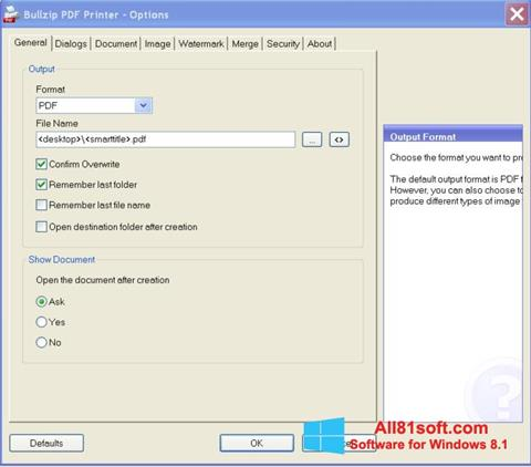Screenshot BullZip PDF Printer Windows 8.1