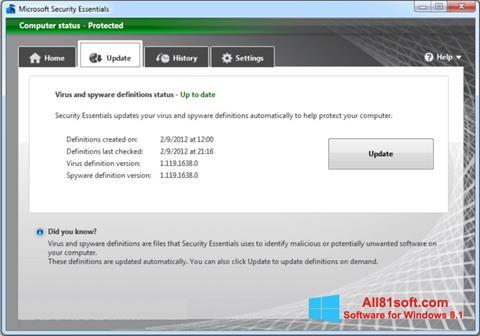 Screenshot Microsoft Security Essentials Windows 8.1