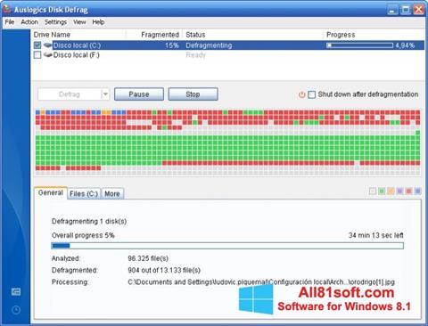 Screenshot Auslogics Disk Defrag Windows 8.1