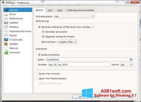 Screenshot SMPlayer Windows 8.1