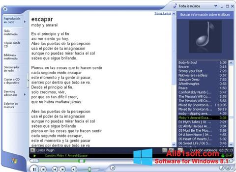 Screenshot Windows Media Player Windows 8.1