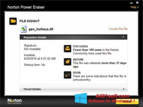 Screenshot Norton Power Eraser Windows 8.1